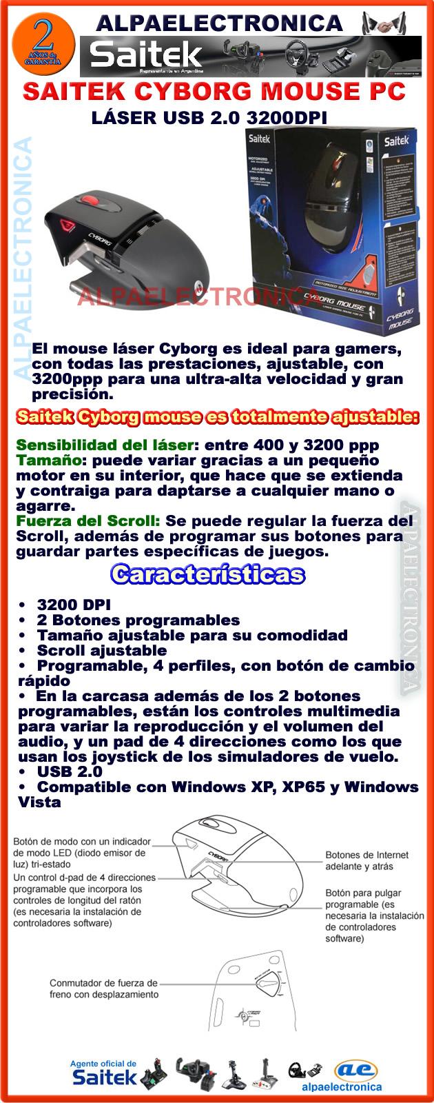 SAITEK CYBORG MOUSE GAMING www.alpaelectronica.com.ar